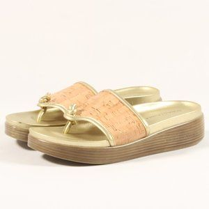 Donald J. Pliner Thong Platform Sandals Gold Cork